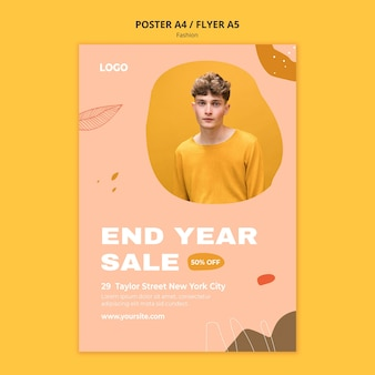 End year sale male fashion poster template