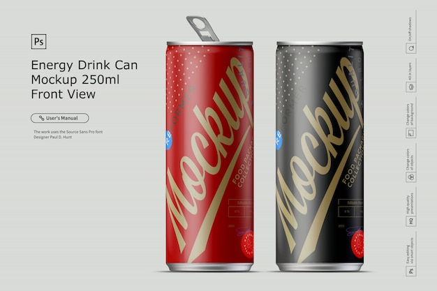 Energy drink can mockup front view