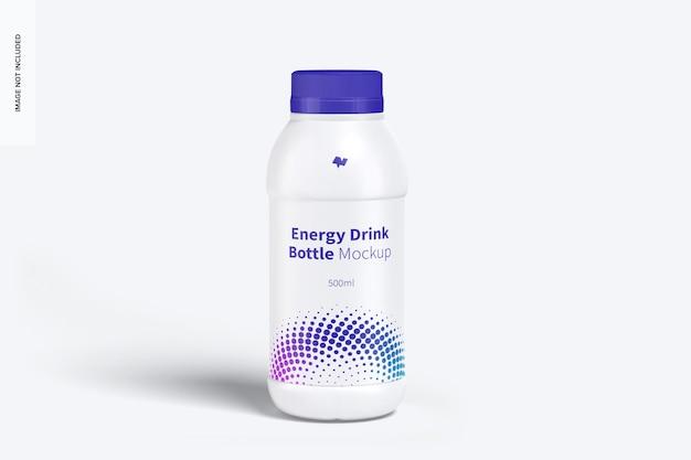 Energy drink plastic bottle mockup, front view