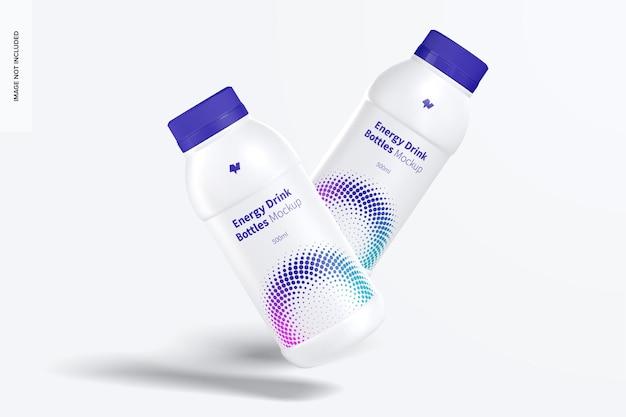 Energy drink plastic bottles mockup, floating