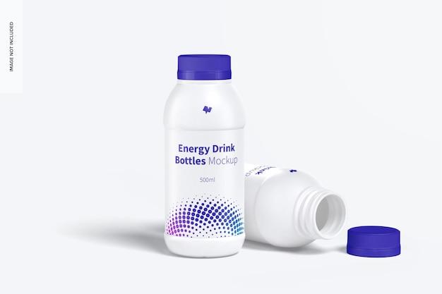 Energy drink plastic bottles mockup