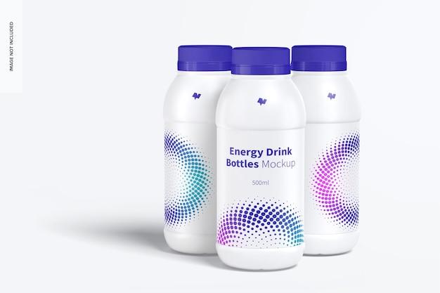 Energy drink plastic bottles set mockup