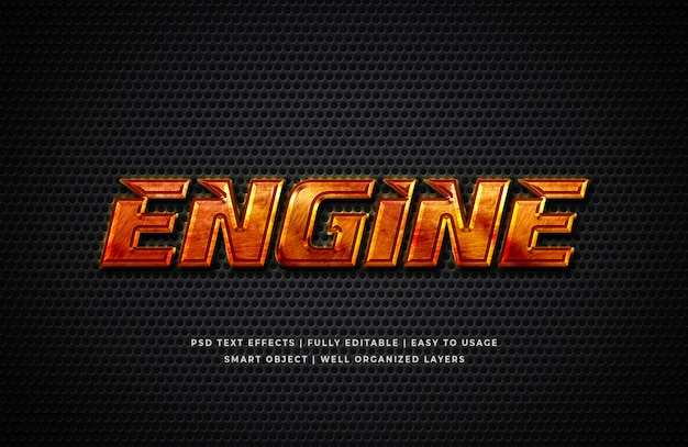 Engine 3d text style effect mockup