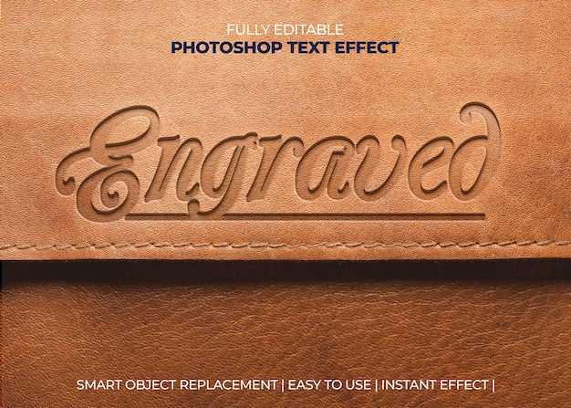 Engraved leather text effect