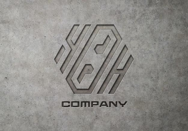 Engraved logo on concrete mockup