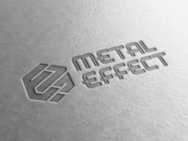 Engraved logo on metal plate mockup