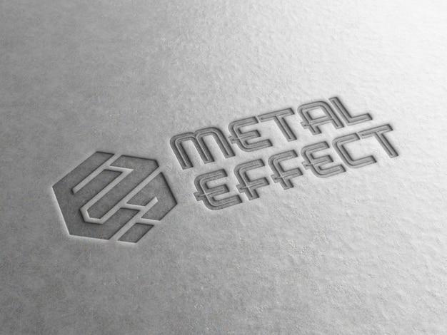 Выгравированный логотип на металлической пластине мокап