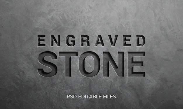 Engraved stone 3d text style effect mockup