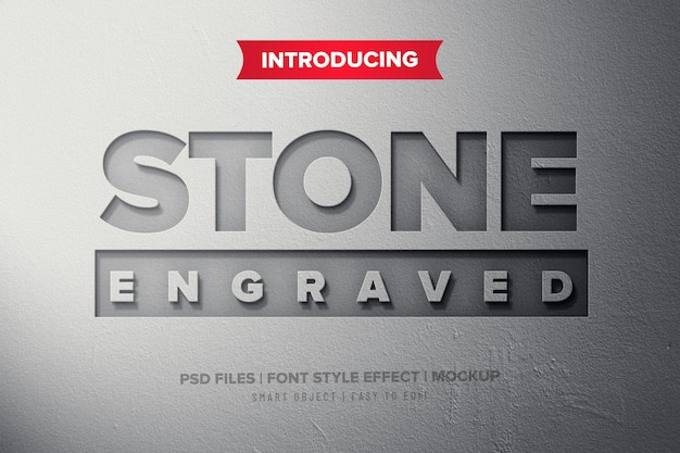 Engraved stone premium text effect
