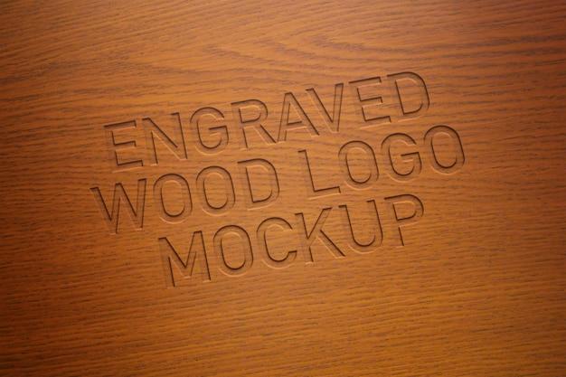 彫刻された木製のロゴモックアップ