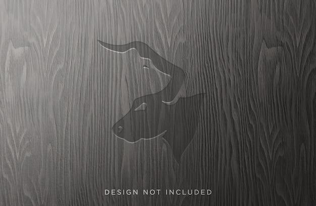 Engraved wood mockup front view design