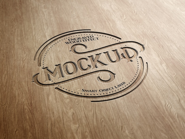Engraved wood text effect