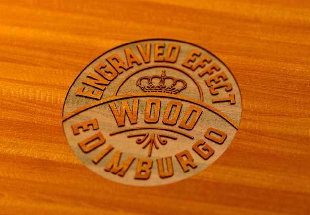 Гравированный деревянный макет fffect дизайн изолированные