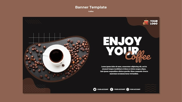 Enjoy coffee banner template