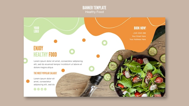 Enjoy healthy food banner template