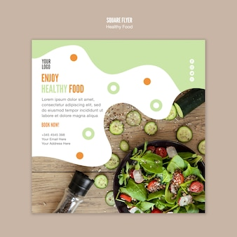 Enjoy healthy food square flyer template
