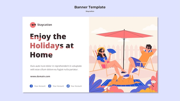 Enjoy holidays at home banner template