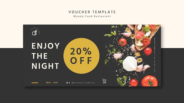 Enjoy the night at the restaurant voucher template