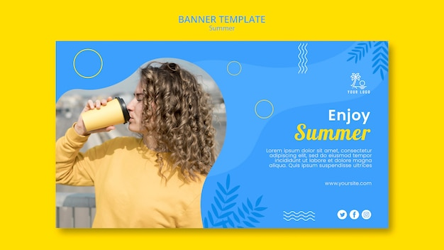 Enjoy summer and good coffee banner template