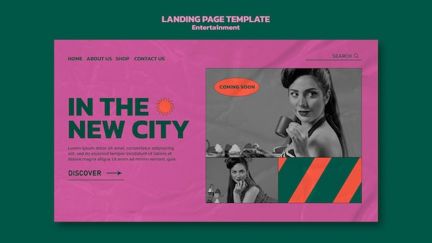 Entertainment landing page template with photo