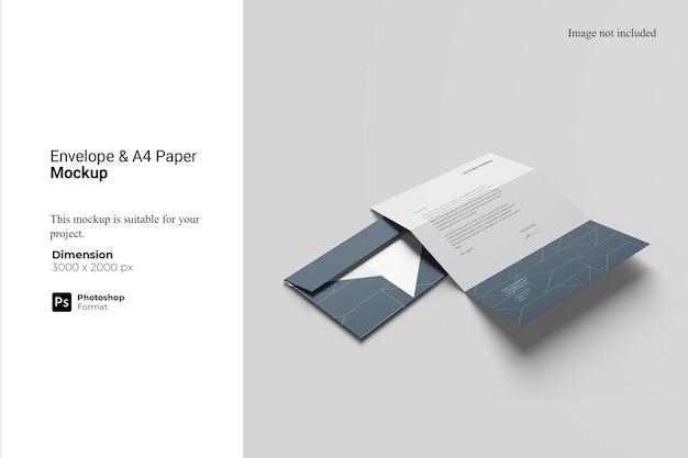 Конверт и макет бумаги а4