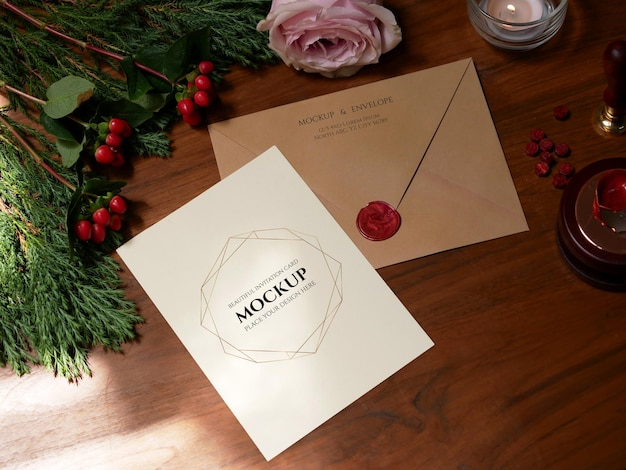 Envelope back side with red wax seal and blank card invitation mockup