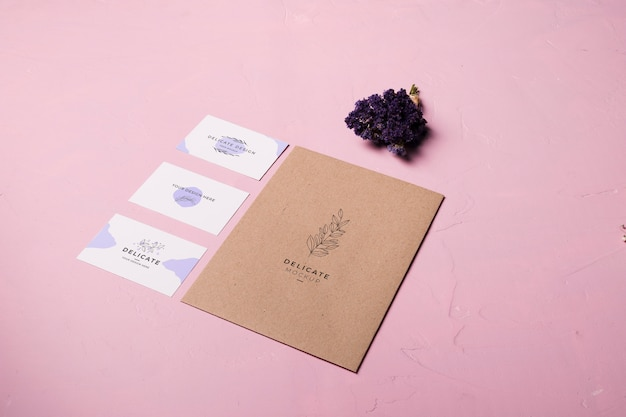 Envelope design on pink background