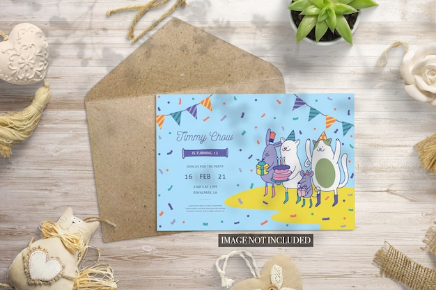 Envelope event card premade scene mockup
