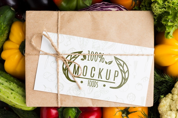 Envelope locally grown veggies mock-up