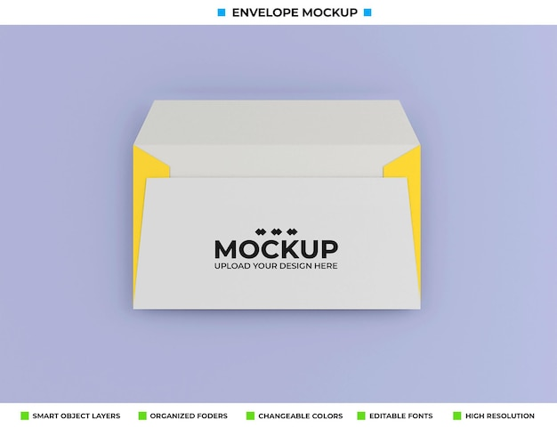 柔らかい色の背景に分離された封筒のモックアップ
