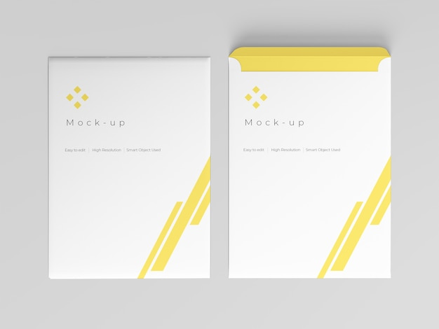 Envelope mockup top view template
