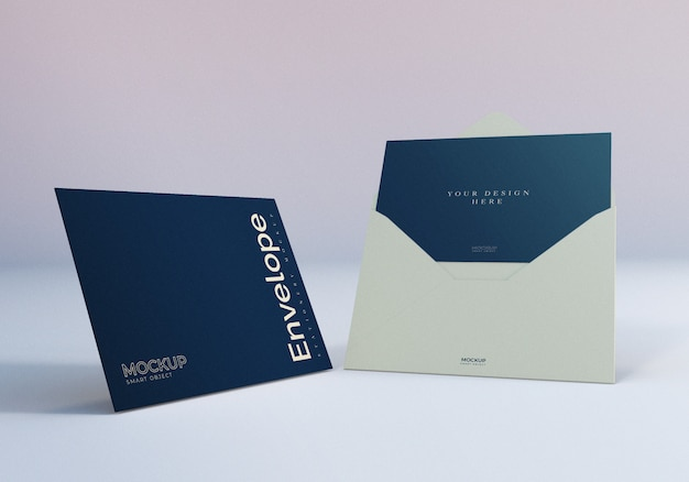 Envelope mockup with greeting card