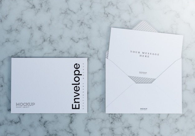 Envelope mockup with marble background