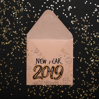 Envelope mockup with new year concept