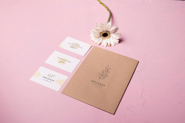 Envelope style on pink background