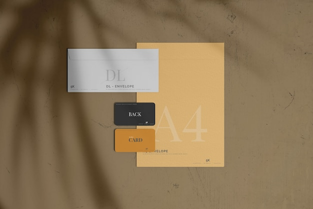 Envelope with business card mockup