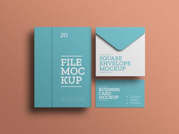 ファイルステーショナリーセットのモックアップと封筒