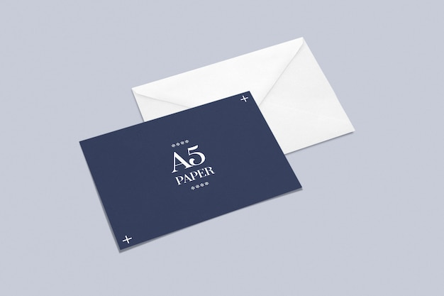 Envelope with greeting card or postcard mockup