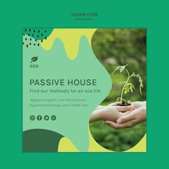 Environment concept square flyer template