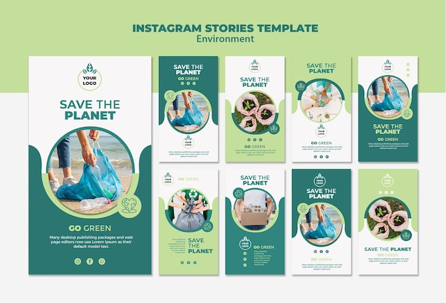 Environment instagram stories template mock-up