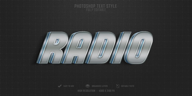 Epic radio 3d text style effect template design