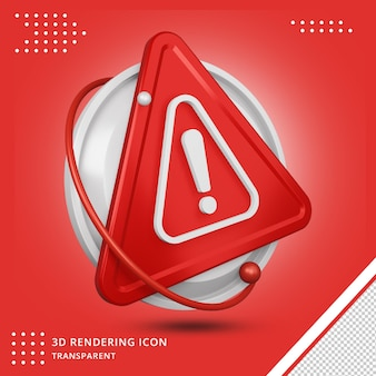 Error icon in 3d rendering isolated
