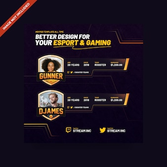 Esport & gaming psd square banner template
