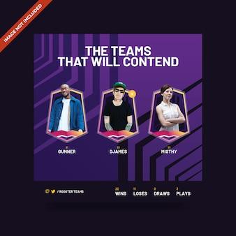 Esport & gaming psd square banner template Premium Psd