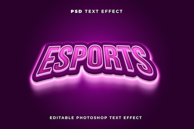 Esport text effect template with light effect and purple color