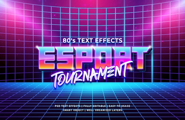 Esport tournament 80's retro text effect