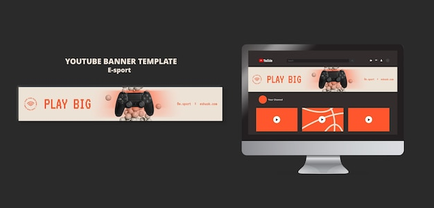 Esport youtube banner template design