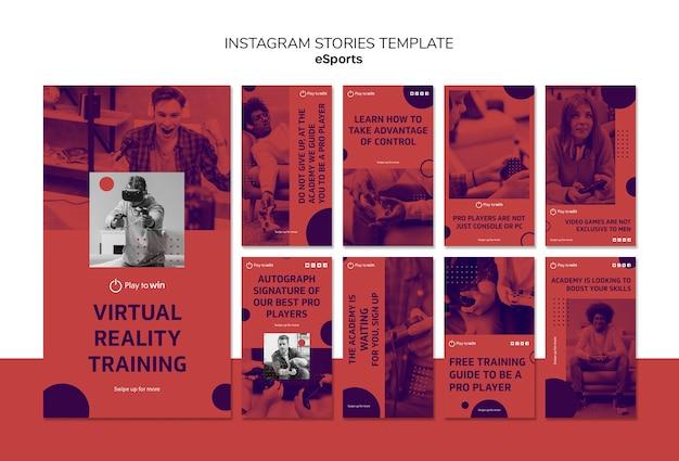 Modello di storie di instagram concetto esports
