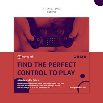 Esports концепция квадратный флаер шаблон