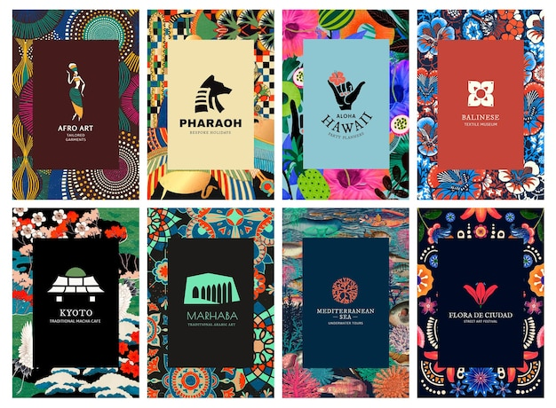 Ethnic pattern template psd with minimal logo set, remixed from public domain artworks